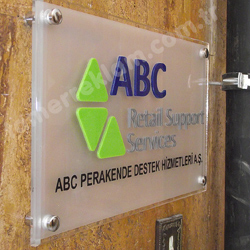 ABC Retail Support Services Pleksiglass Lazer Kesim Kapı Tabelası