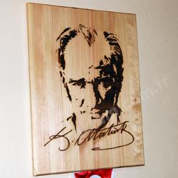 Atatürk Silüeti Lazer Ahşap Yakma Tablo