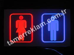 WC Tuvalet Lavabo için Bay Bayan Ledli tabela